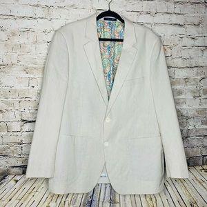 Alan Flusser Seersucker Sport Coat XL 100% cotton